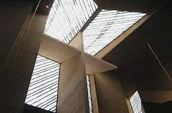 Commercial construction company Morley Construction Company built the 70-foot high concrete cross behind the alter of Our Lady of Angels Cathedral in Los Angeles California, a remarkable commercial construction project.